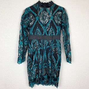 CBR Elaborately Sequined Long-Sleeved Lace Dress S